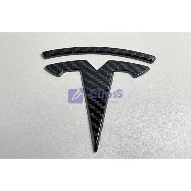Эмблема Tesla 85x80 mm (карбон)